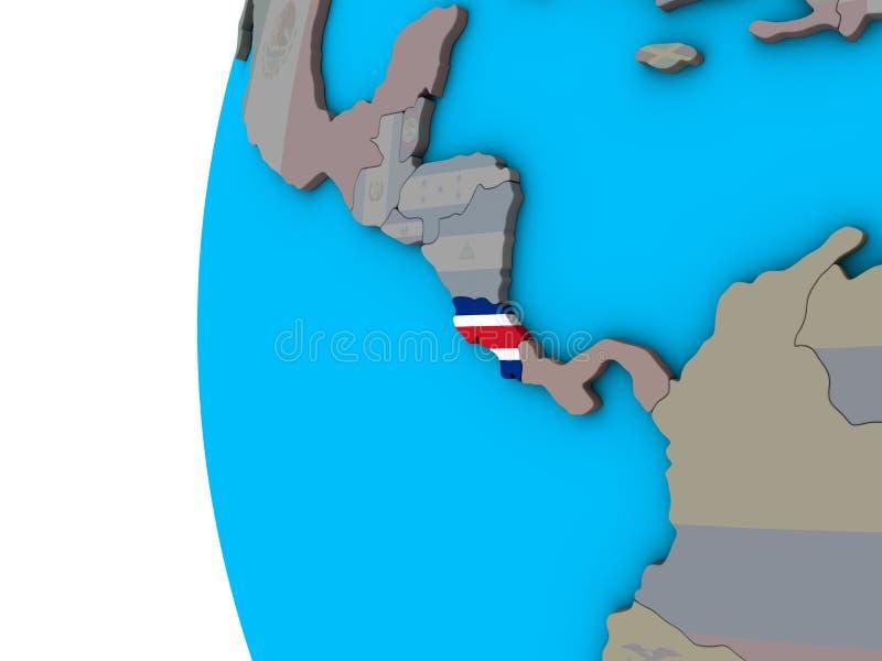 Costa Rica med flaggan på jordklotet 3D stock illustrationer