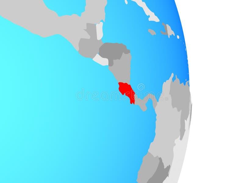 Costa Rica na kuli ziemskiej royalty ilustracja