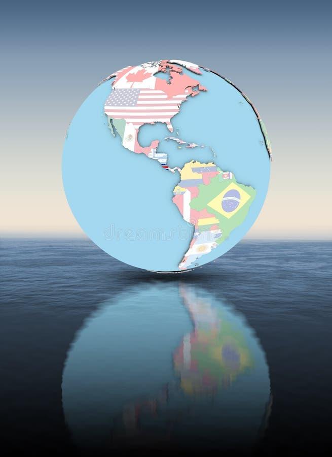 Costa Rica na kuli ziemskiej z flaga above - wodną powierzchnią ilustracja wektor