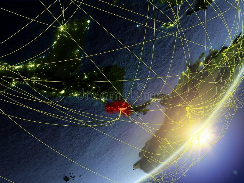 Costa Rica na modelu planety ziemia z siecią podczas wschód słońca Pojęcie nowa technologia, komunikacja i podróż, 3d ilustracji
