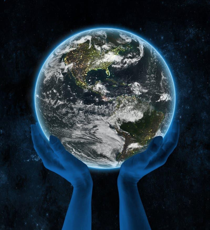 Costa Rica na nocy planety ziemi w rękach ilustracji