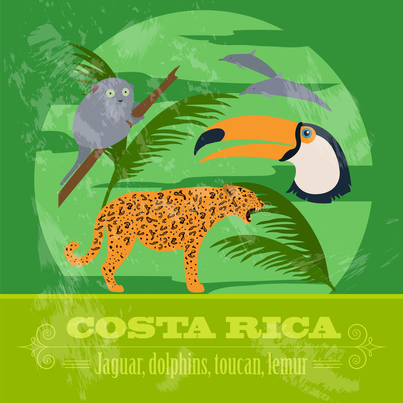 Costa Rica national symbols. Dolphins, jaguar, toucan, lemur. Re. Tro styled image. Vector illustration royalty free illustration