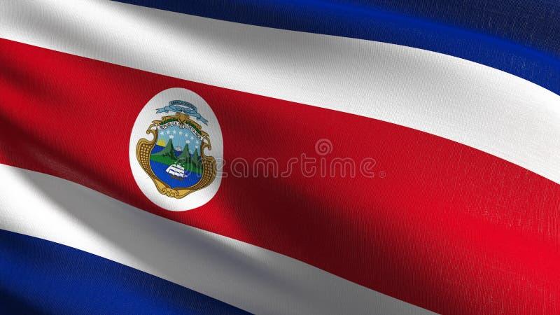 Costa Rica nationsflagga som blåser i den isolerade vinden Officiell patriotisk abstrakt design illustration för tolkning 3D av a stock illustrationer