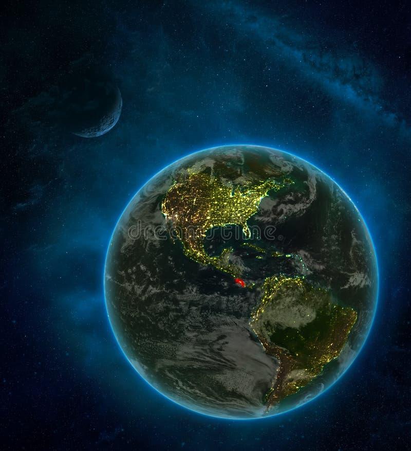 Costa Rica od przestrzeni na ziemi przy nocą otaczającą przestrzenią z księżyc i drogą mleczną Szczegółowa planeta z miasto chmur ilustracja wektor