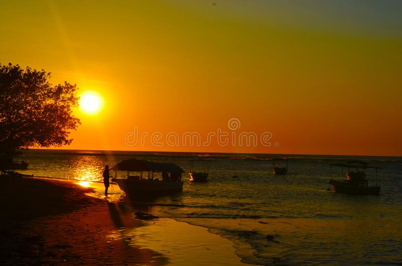 Sunsent in Tamarindo Beach, Costa Rica. Costa Rica offers unforgettable memories of magical moments like this sunset in the pacific coast. Really best moment for royalty free stock photo