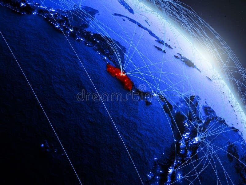 Costa Rica på det blåa blåa digitala jordklotet royaltyfri illustrationer