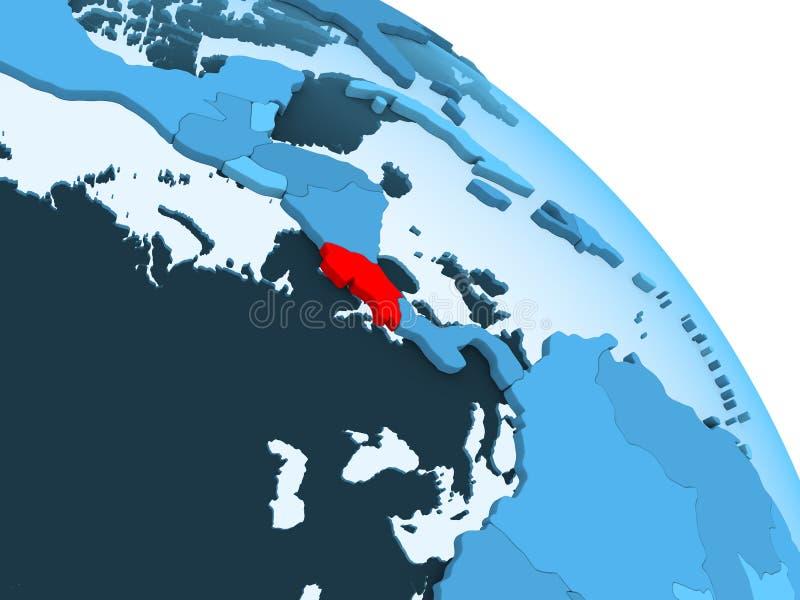 Costa Rica på det blåa jordklotet vektor illustrationer