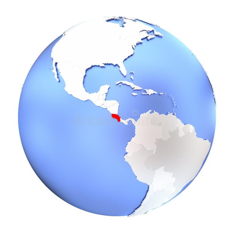 Costa Rica på det isolerade metalliska jordklotet stock illustrationer