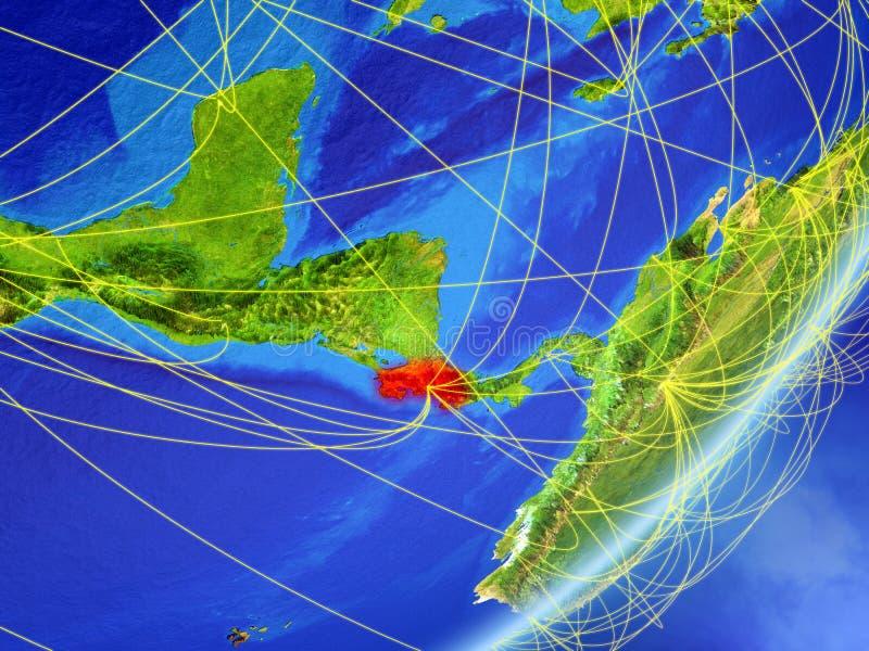 Costa Rica på jord med nätverket stock illustrationer