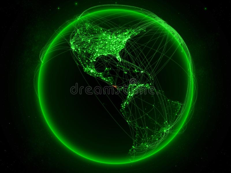 Costa Rica på jord med nätverket royaltyfri illustrationer