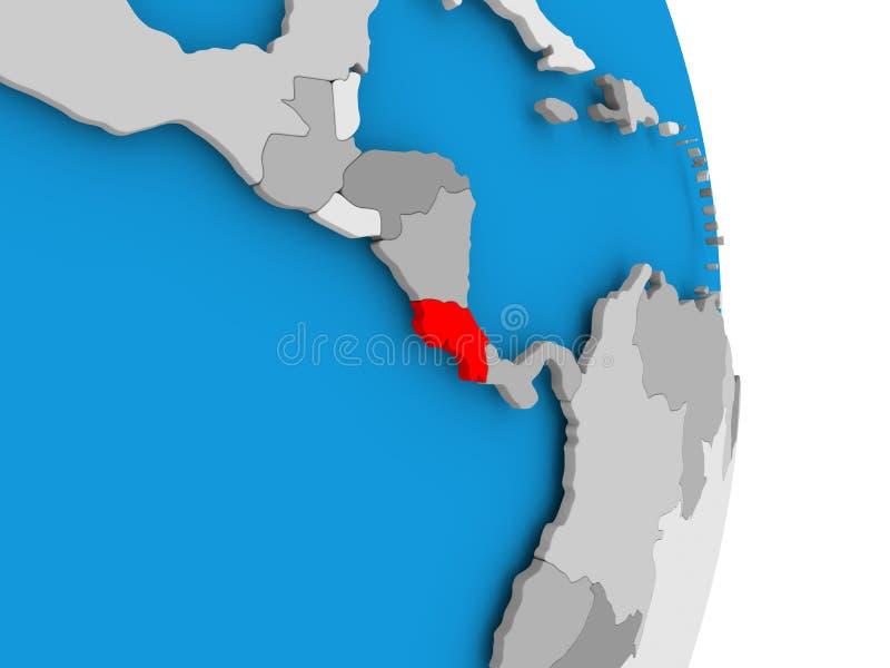 Costa Rica på jordklotet stock illustrationer