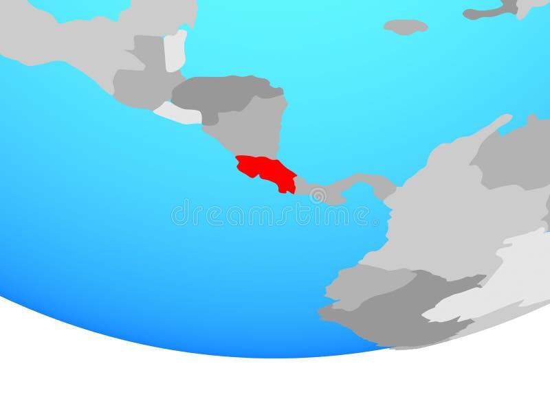 Costa Rica på jordklotet royaltyfri illustrationer