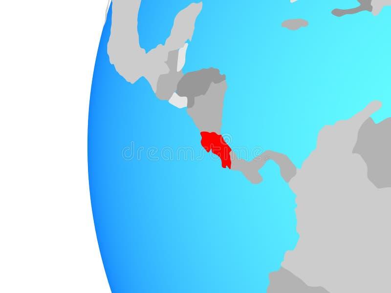 Costa Rica på jordklotet vektor illustrationer