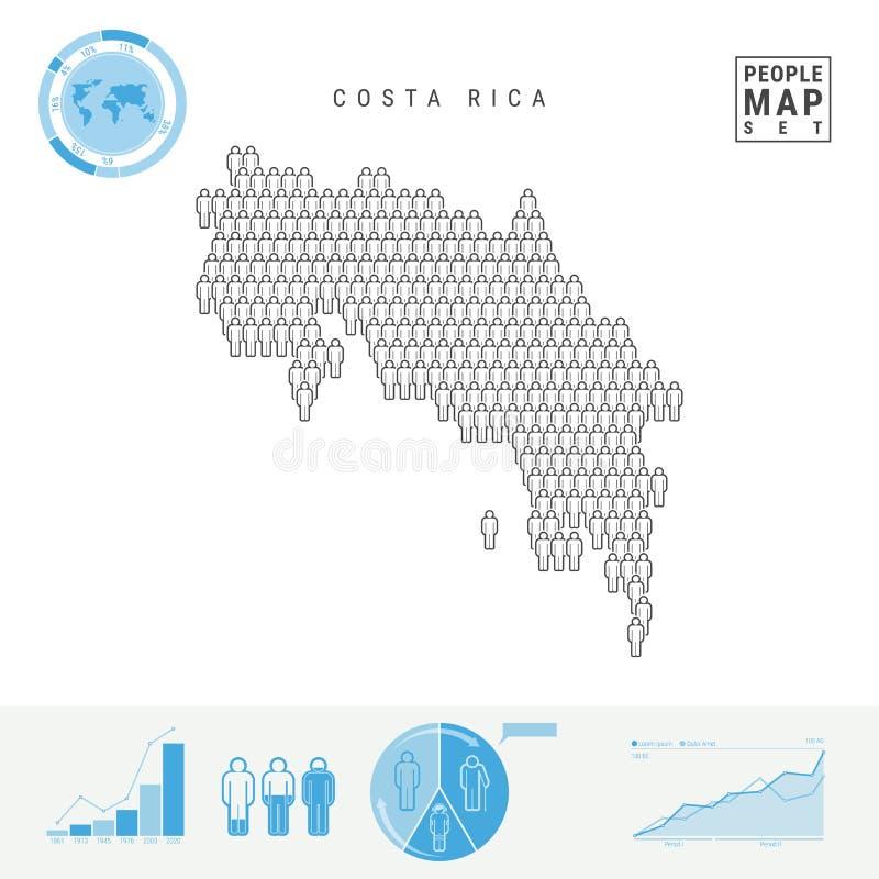 Costa Rica People Icon Map Stiliserad vektorkontur av Costa Rica Befolkningstillväxt och åldrasInfographics vektor illustrationer