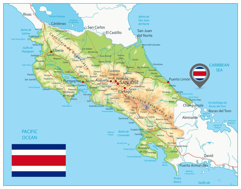 Costa Rica Physical Map. Detailed map of Costa Rica with shaded relief map, major cities, roads and water objects vector illustration