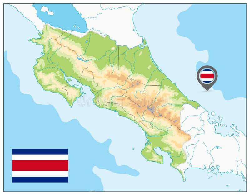 Costa Rica Physical Map GEEN tekst vector illustratie