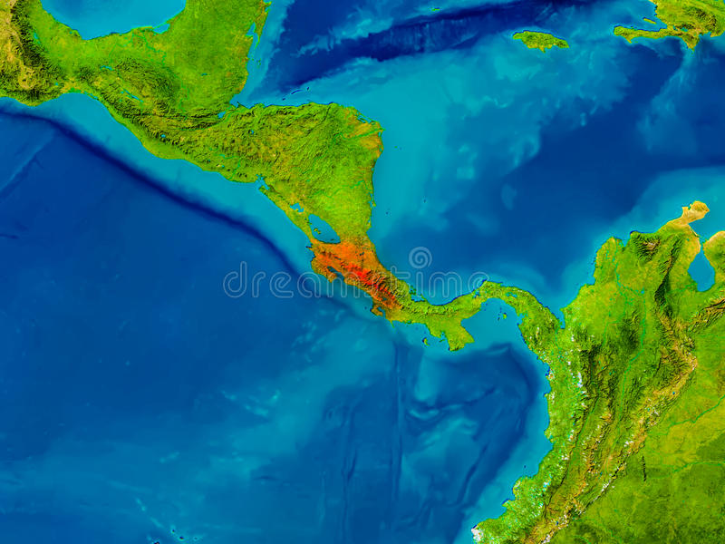 Costa Rica on physical map vector illustration