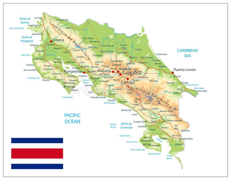 Costa Rica Physical Map Isolated On vit stock illustrationer
