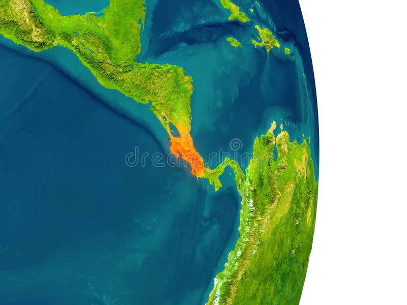 Costa Rica on planet. Costa Rica highlighted in red on planet Earth. 3D illustration with detailed planet surface. Elements of this image furnished by NASA stock illustration