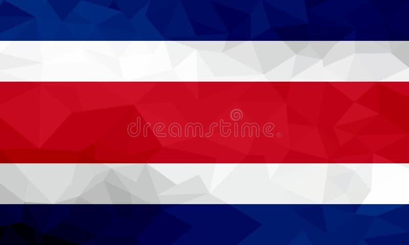 Costa Rica poligonalna flaga Mozaiki nowożytny tło geometryczny wzór royalty ilustracja
