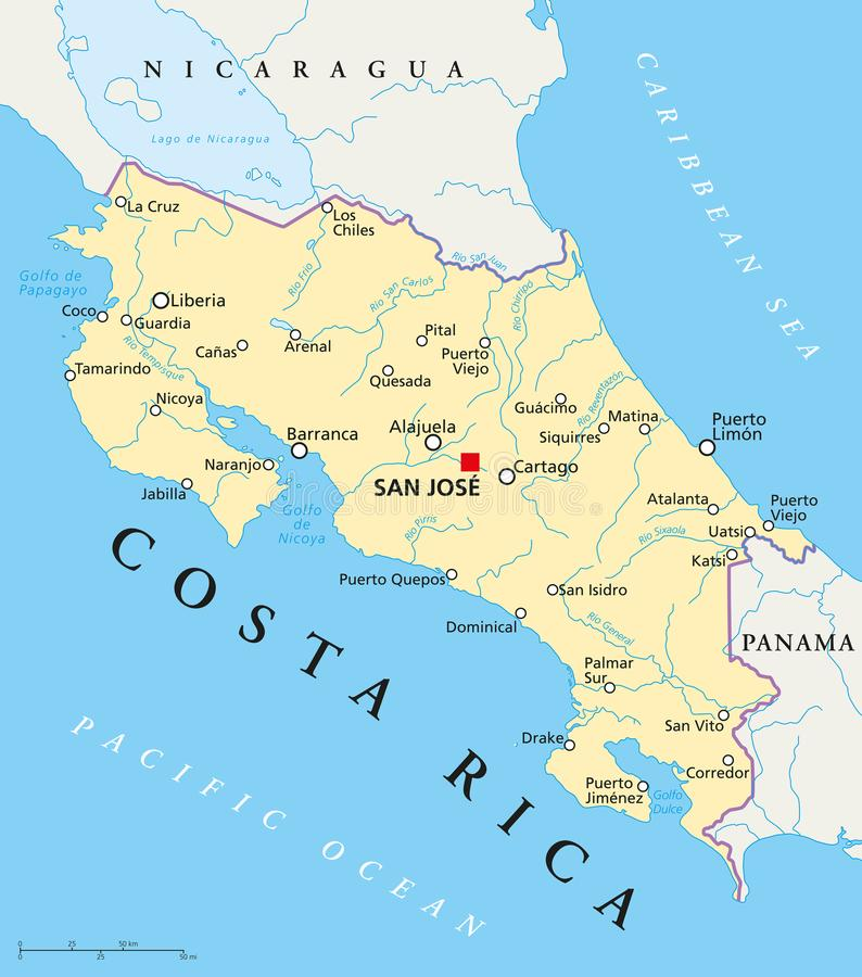 Costa Rica Political Map. With capital San José, national borders, most important cities, rivers and lakes. Illustration with English labeling and scaling stock illustration