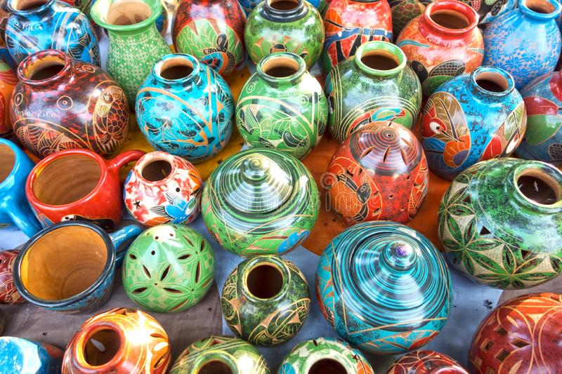Costa Rica Porcelain Pottery Handicraft Vases and Bowls Outdoor Market Souvenir Shop stock images