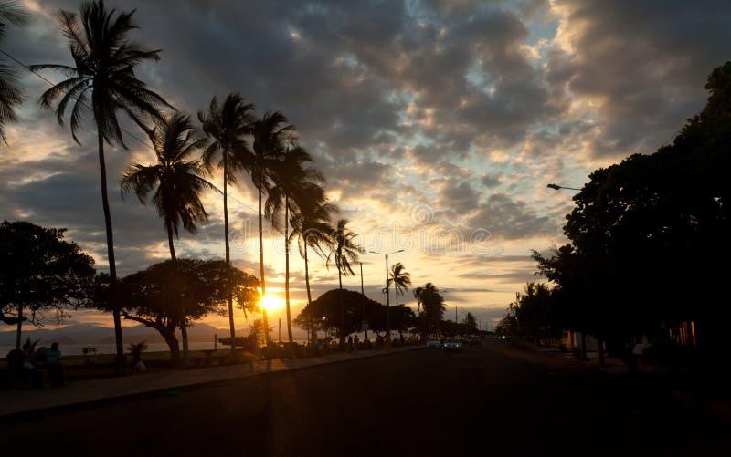 Costa Rica Puntarenas während des Sonnenuntergangs lizenzfreie stockfotografie