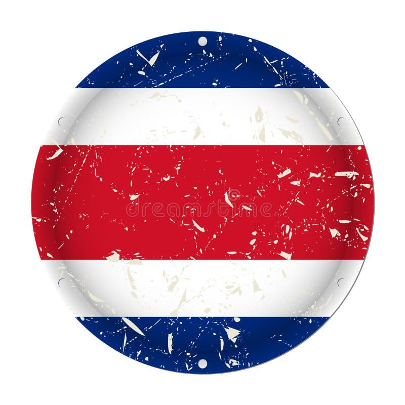 Costa Rica - rund metall skrapad gammal flagga vektor illustrationer