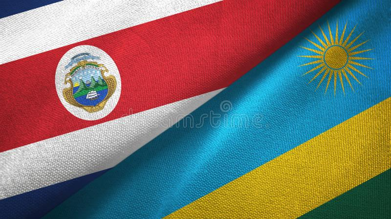Costa Rica and Rwanda two flags textile cloth, fabric texture. Costa Rica and Rwanda two folded flags together vector illustration