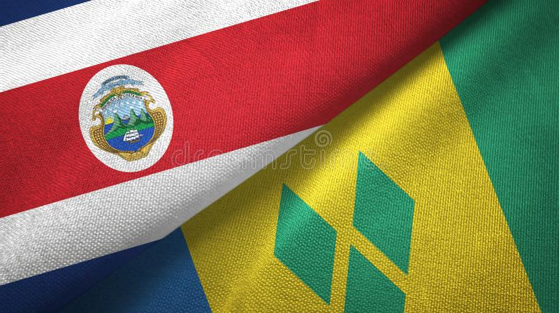 Costa Rica and Saint Vincent and the Grenadines two flags textile cloth. Costa Rica and Saint Vincent and the Grenadines two folded flags together stock illustration