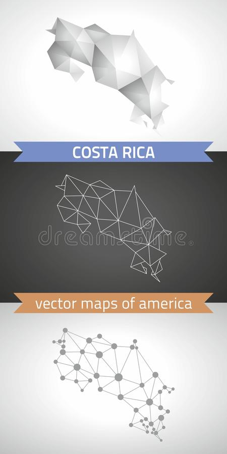 Costa Rica set of grey and silver mosaic 3d polygonal maps. Graphic vector triangle geometry outline shadow perspective maps vector illustration