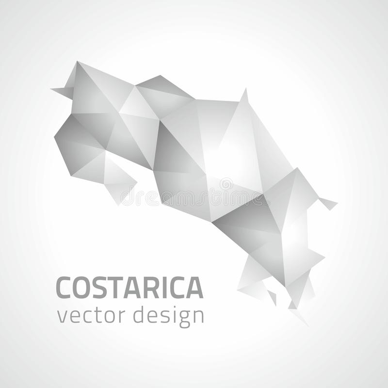 Costa Rica silver and grey polygonal vector map royalty free illustration