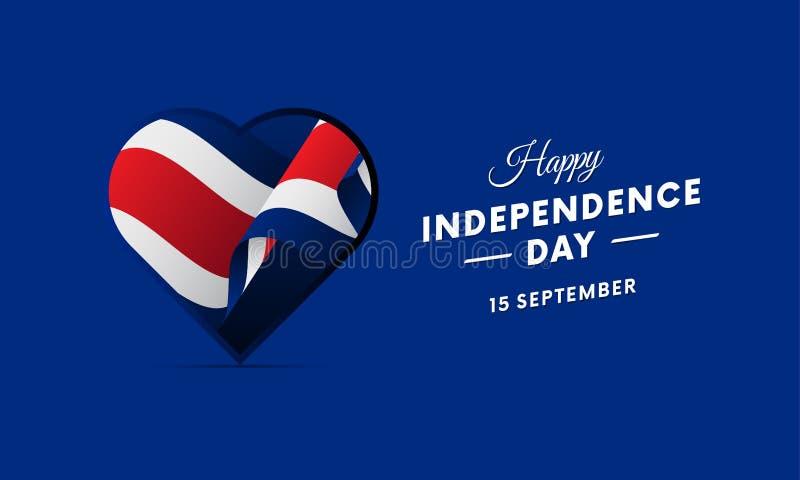 Costa Rica självständighetsdagen 15 September Vinkande flagga i hjärta också vektor för coreldrawillustration royaltyfri illustrationer