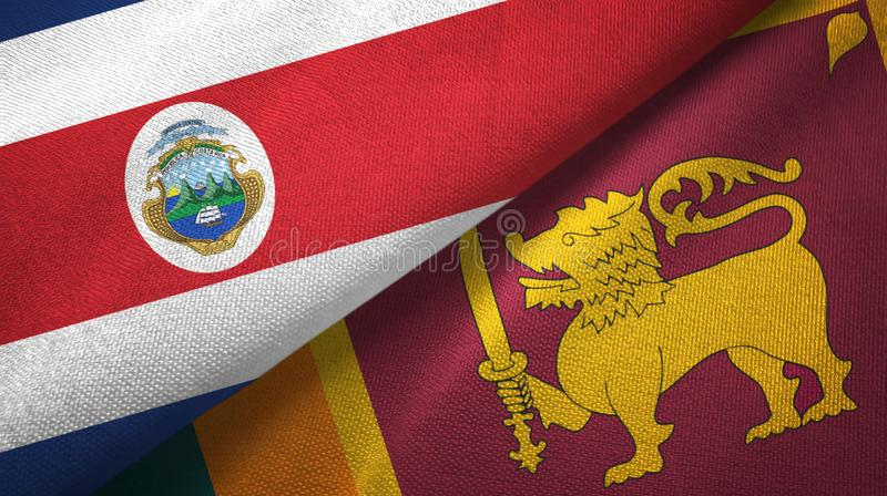 Costa Rica and Sri Lanka two flags textile cloth, fabric texture. Costa Rica and Sri Lanka two folded flags together royalty free illustration