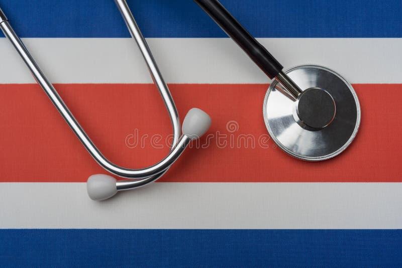 Costa Rica stetoskop i flaga Pojęcie medycyna zdjęcia royalty free