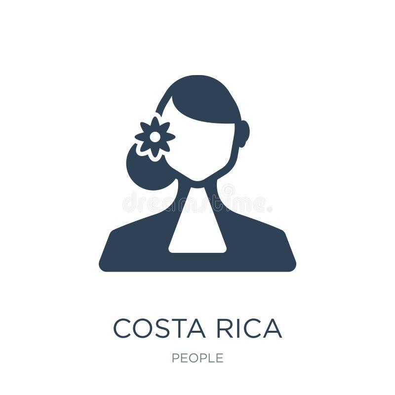 Costa Rica symbol i moderiktig designstil Costa Rica symbol som isoleras på vit bakgrund modern Costa Rica vektorsymbol som är en stock illustrationer