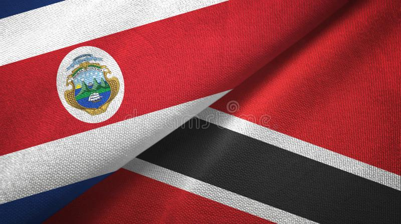 Costa Rica and Trinidad and Tobago two flags textile cloth, fabric texture. Costa Rica and Trinidad and Tobago two folded flags together vector illustration