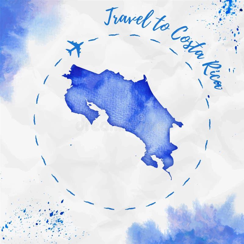 Costa Rica vattenfärgöversikt i blåa färger royaltyfri illustrationer