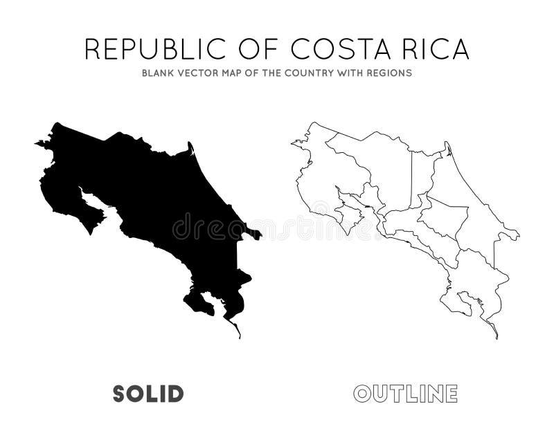 Costa Rica ?versikt royaltyfri illustrationer