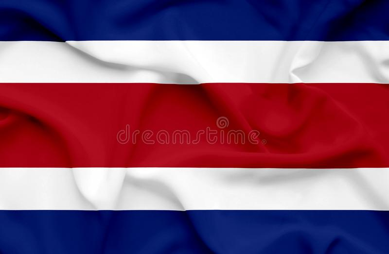 Costa Rica vinkande flagga royaltyfri illustrationer