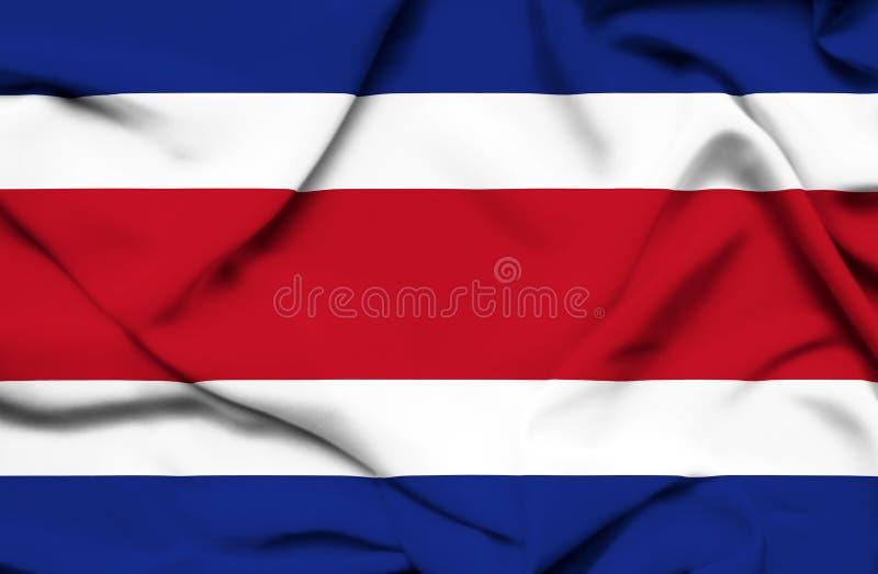 Costa Rica vinkande flagga stock illustrationer