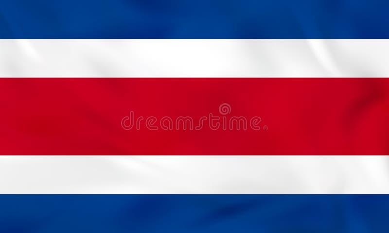 Costa Rica vinkande flagga Textur för Costa Rica nationsflaggabakgrund royaltyfri illustrationer