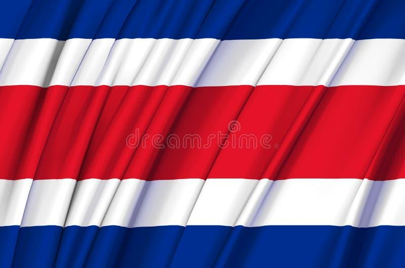 Costa Rica vinkande flaggaillustration stock illustrationer