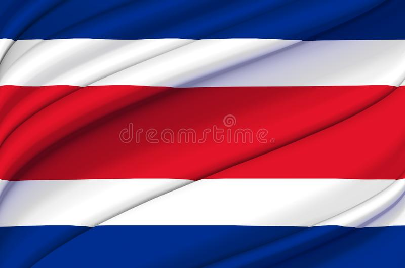 Costa Rica vinkande flaggaillustration vektor illustrationer