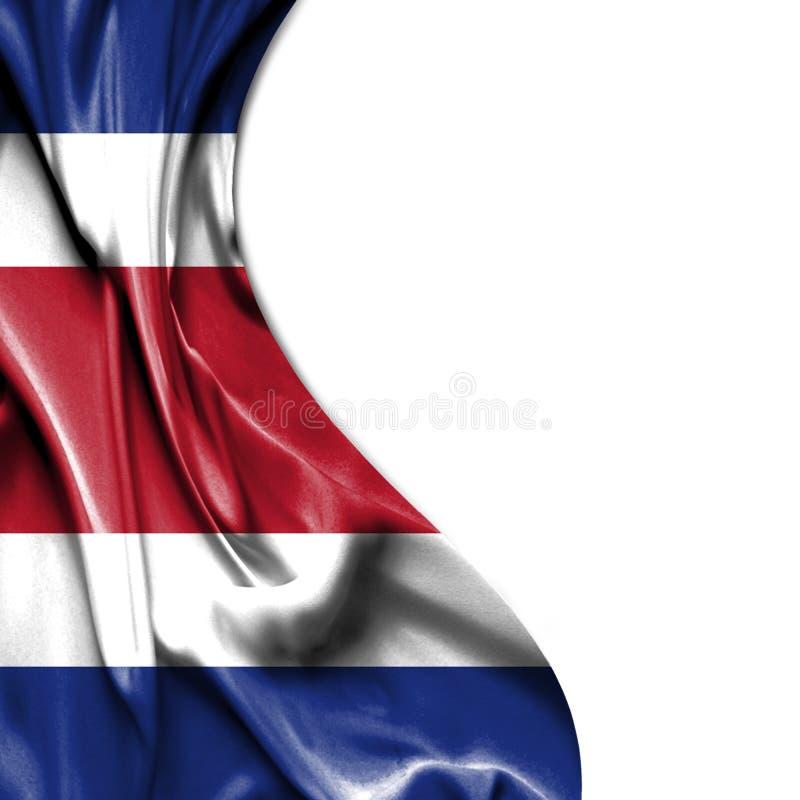 Costa Rica vinkande satängflagga som isoleras på vit bakgrund royaltyfri illustrationer