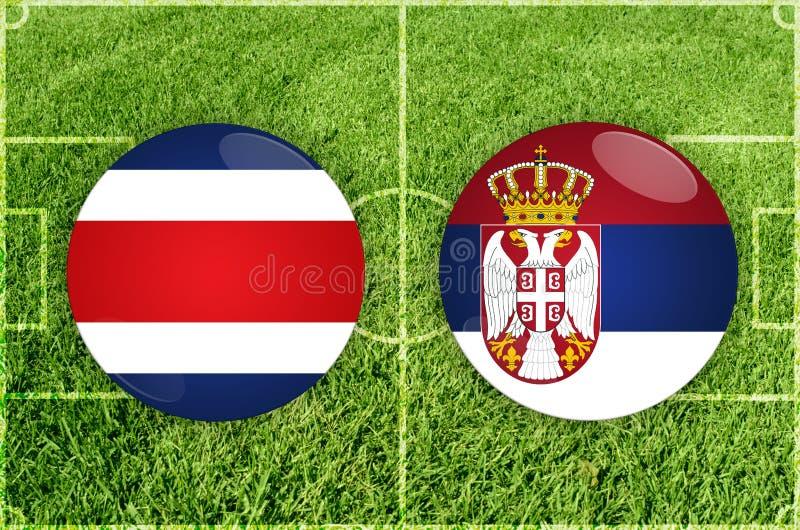 Costa Rica vs den Serbien fotbollsmatchen royaltyfri illustrationer
