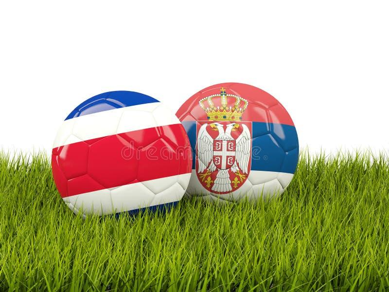 Costa Rica vs Serbien bollcloseupbegreppet shoes fotbollsporten Fotbollar med flaggor på gr stock illustrationer