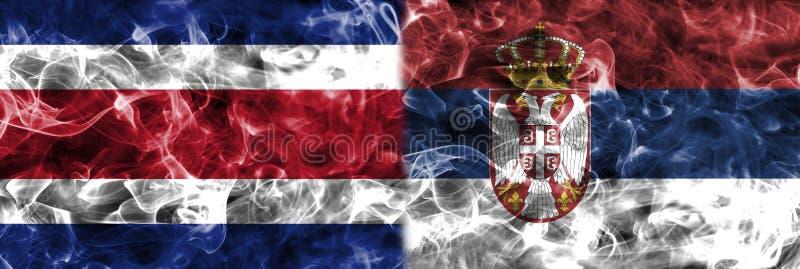 Costa Rica vs Serbien rökflagga, grupp E, fotbollvärldscup 201 vektor illustrationer