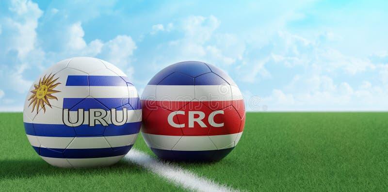 Costa Rica vs Uruguay fotbollsmatch - fotbollbollar i Costa Rica och Uruguay nationella färger på ett fotbollfält vektor illustrationer