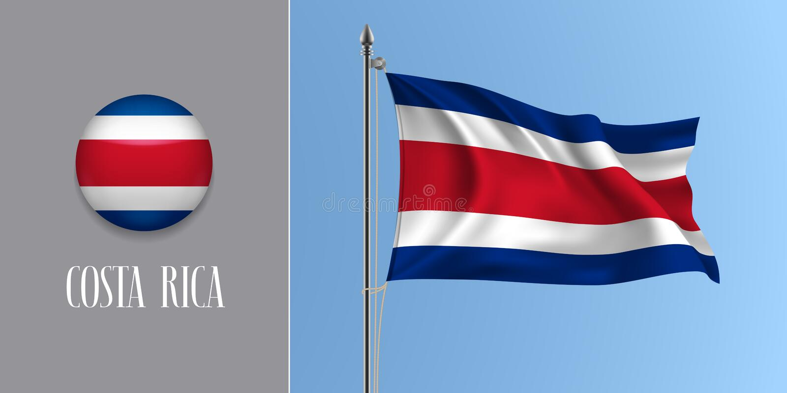 Costa Rica waving flag on flagpole and round icon vector illustration vector illustration